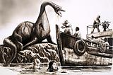 Attack by pre-historic reptile