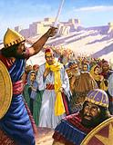 Jeconiah, King of Judah, leading his people into captivity after the fall of Jerusalem to the Babylonians, 597 BC