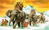 Hannibal's army and elephants crossing the Alps, Second Punic War, 218 BC