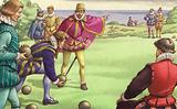 Sir Francis Drake playing bowls as the Spanish Armada approaches, 1588