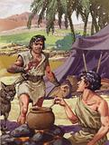 Esau asking his brother Jacob for food