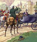 Count Bismark approaches the carriage of Napoleon III