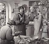 A goldsmith's shop in 15th Century Italy