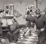 Poggio Bracciolini throws a book at a fellow scholar, Tortelli