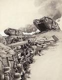 Tanks roll over German trenches during the Great War