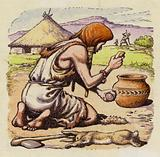 Early man creating fire from flints