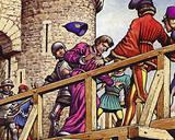 The Dauphin meets John the Fearless, Duke of Burgundy, on the bridge across the Seine