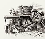 British machine gunner waiting for the Germans outside Dunkirk