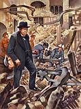 Churchill surveys the damage after a German bomb has destroyed part of the House of Commons