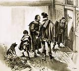 A group of tax collectors vainly hammering on William Shakespeare's door
