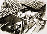 Karl Decker climbs across to the prison of Evangelina Cisneros in Cuba