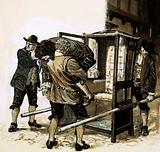 Sir Edmond Berry Godfrey's body is smuggled out in a sedan-chair