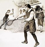 Henry of Stirling playing tennis in his shirtsleeves