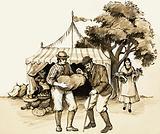 At a country fair, a wise farmer checks his purchases