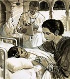 Indira Gandhi watching over a child in hospital