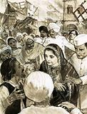 Indira Gandhi in the city of Ahmadabad during the riots