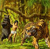 Mowgli, Shere Khan the Tiger and Baloo the Bear from The Jungle Book