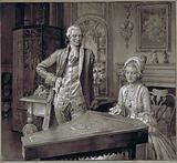 Queen Charlotte, at the keyboard, and King George III