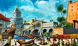 Harbour of Alexandria, Egypt, in Roman times