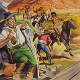 Jacob Waltz and his friend being attacked by Apache Indians