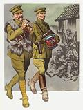 An officer and bandsman stir up weary soldiers in WW1
