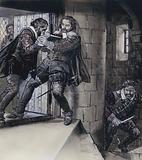 Lord Gowrie drawing a dagger on King James VI of Scotland