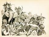 Carthaginians using their elephants against the Romans