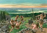 Prehistoric men hunting for wild boar