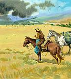 Tschiffely in the desert country of Santiago de Estero encountering a swarm of locusts