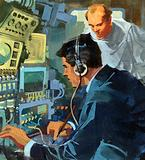 Radio operator picking up an SOS signal