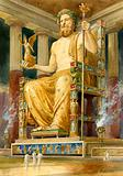 Statue of Zeus at Olympia, Greece, one of the Seven Wonders of the Ancient World