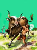 Stone age man attacking wild cattle