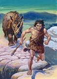 Cave man being chased by wooly rhinoceros