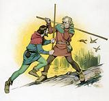 Robin Hood fighting with Little John