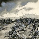 The battle of Crecy, where English archers destroyed the French cavalry