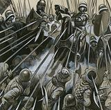 Swiss soldiers defeating the Burgundian army in 1476-77