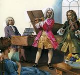 Bach playing music with members of his own family