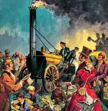 George Stephenson's Rocket, the first steam locomotive on the Liverpool and Manchester Railway, 1830