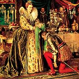Sir Francis Drake receiving his knighthood from Queen Elizabeth I, 1581
