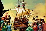 Departure of the Pilgrim Fathers for America from Plymouth on board the Mayflower, 1620