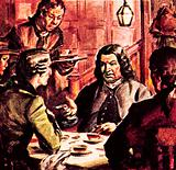 Dr Johnson drinking tea with James Boswell
