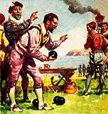 Sir Francis Drake on Plymouth Hoe in 1588 playing bowls