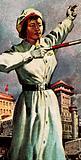 Girl policewoman controlling traffic in Peking, China