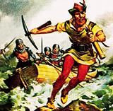 William Tell, the Swiss patriot, jumping from a boat on Lake Lucerne
