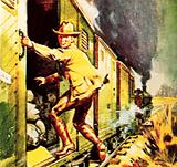 Winston Churchill jumping from a train during the Boer war