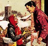 Paper boy receiving his Christmas box