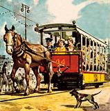 Horse-drawn tram in Douglas, Isle of Man
