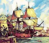 The Mayflower leaving Plymouth carrying the Pilgrim Fathers to the New World, 1620