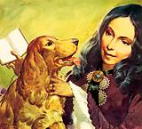Elizabeth Barrett Browning and her cocker spaniel Flush