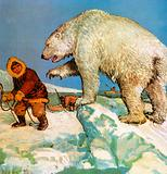 Polar bear and eskimos